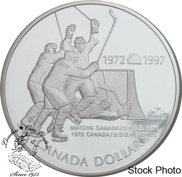 Canada: 1997 $1 25th Anniversary 1972 Canada/Russia Hockey Series Proof Silver Dollar Coin