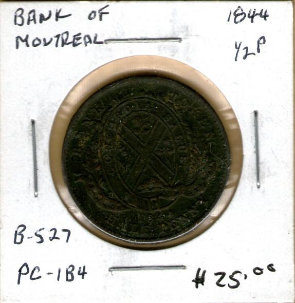 Bank of Montreal: 1844 Half Penny PC-1B4