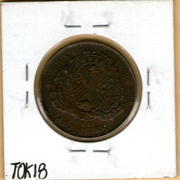 Bank of Montreal: 1844 Half Penny PC-1B3 H. Trees, S. Nose