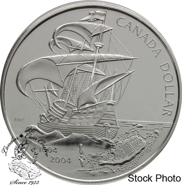 Canada: 2004 $1 400th Anniversary of the First French Settlement in North America Proof Silver Dollar Coin