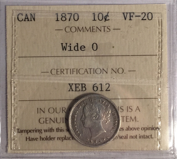 Canada: 1870 10 Cents Wide 0 ICCS VF20