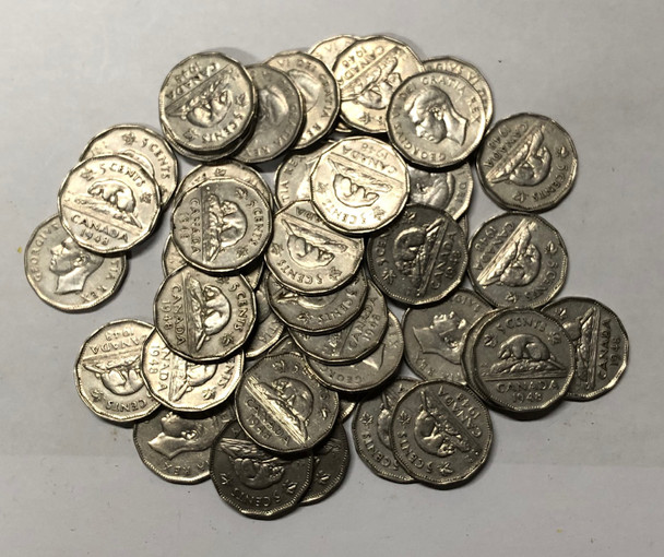 Canada: 1948 George VI 5 Cent Nickels (40 pcs) Average Circulated Condition