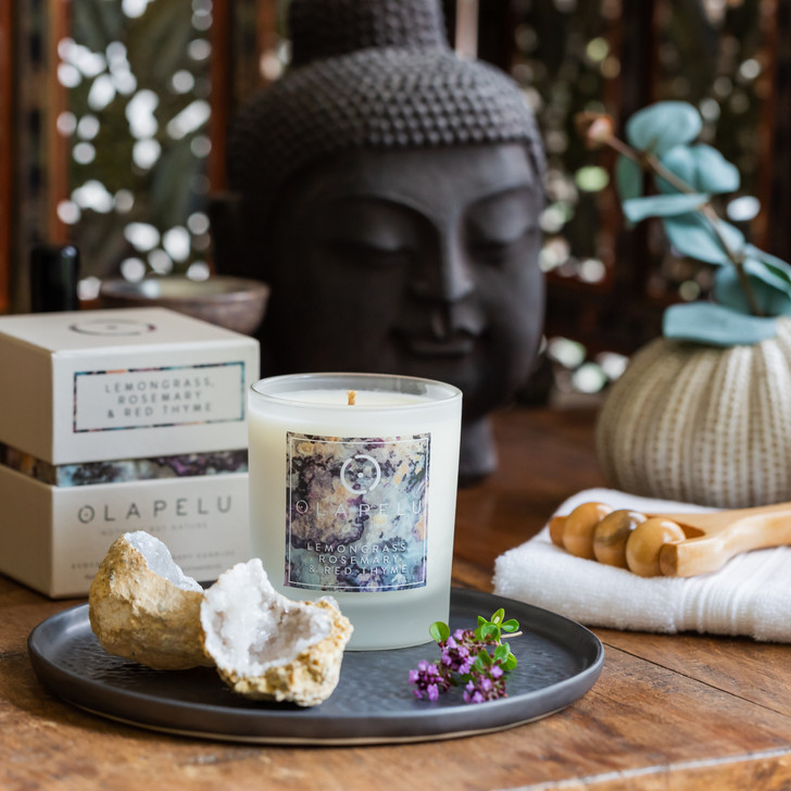 LEMONGRASS,  ROSEMARY  &  RED  THYME - ESSENTIAL OIL CANDLE