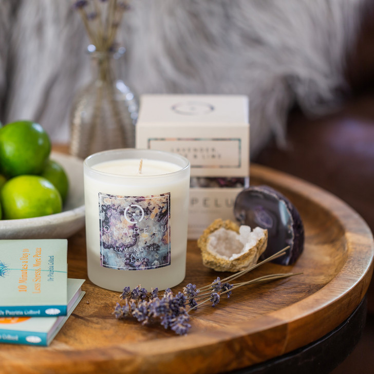 LAVENDER, SAGE & LIME -  ESSENTIAL OIL CANDLE