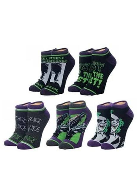 Beetlejuice 5 Pair Ghost with the Most Ankle Socks
