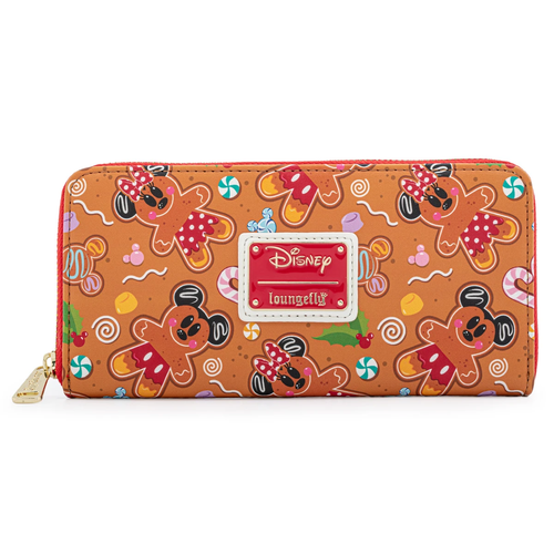 LOUNGEFLY DISNEY GINGER BREAD AOP ZIP AROUND WALLET (WDWA1782) FRONT