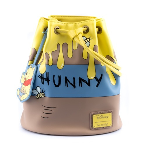 LOUNGEFLY DISNEY WINNIE THE POOH 95TH ANNIVERSARY HONEYPOT CONVERTIBLE BUCKET BACKPACK