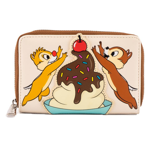 LOUNGEFLY DISNEY CHIP & DALE CHERRY ON TOP ZIP AROUND WALLET (WDWA1847) FRONT