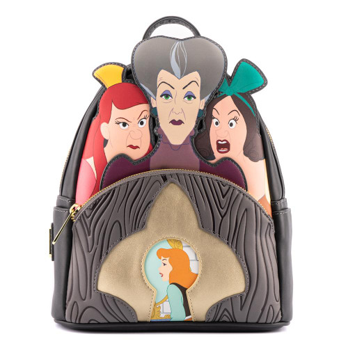 LOUNGEFLY DISNEY VILLAINS SCENE EVIL STEPMOTHER AND STEP SISTERS MINI BACKPACK (WDBK1969) FRONT