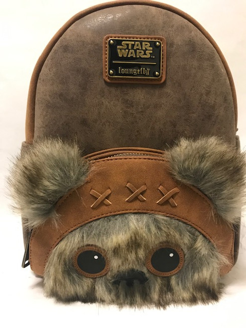 Fluffy ears and face on this Star Wars Ewok Loungefly Backpack