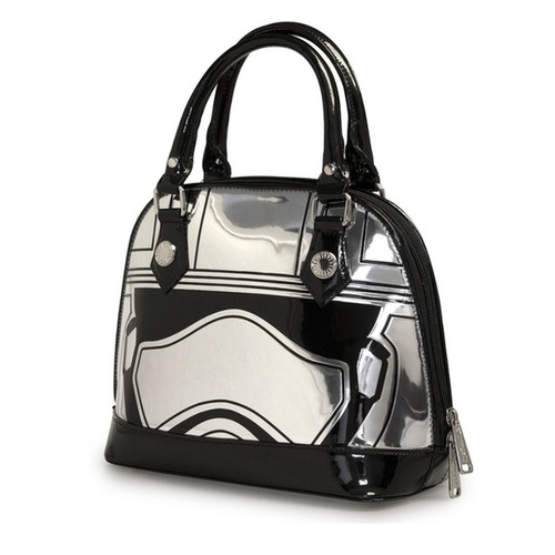 Loungefly x Star Wars: The Force Awakens Captain Phasma Embossed Mini Dome Bag Patent mini dome bag with printed and embossed details.