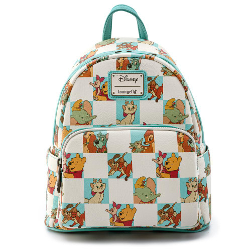 Loungefly X Disney Classics Mint Checkered All Over Print Mini Backpack front