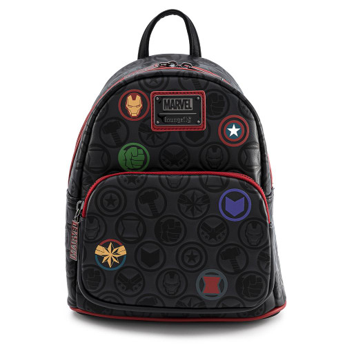 LOUNGEFLY X MARVEL AVENGERS DEBOSSED ICONS MINI BACKPACK FRONT