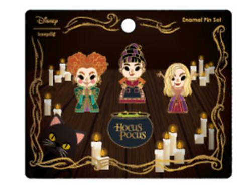 Loungefly Disney Hocus Pocus Chibi 4-Piece Enamel Pin Set