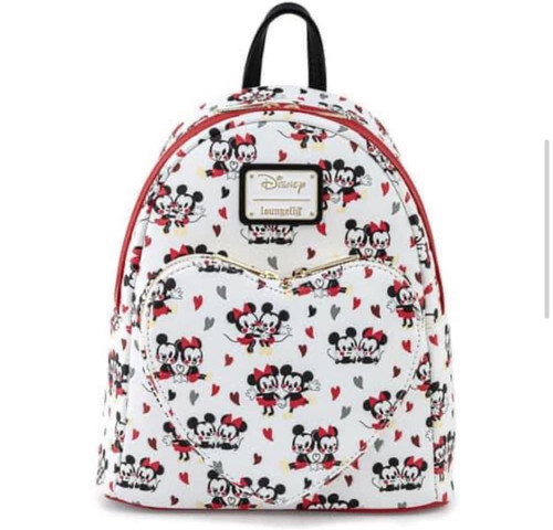 LF DISNEY MICKEY AND MINNIE MOUSE HEART AOP MINI BACKPACK