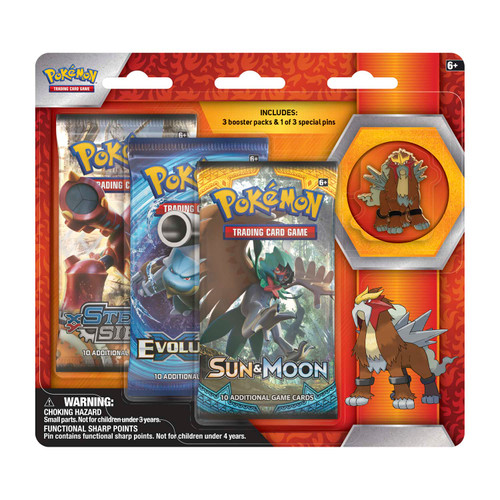 Pokémon TCG: 3 Booster Packs & Entei Collector's Pin