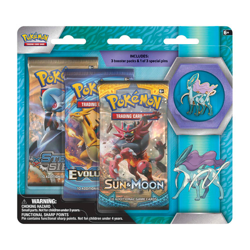 Pokémon TCG: 3 Booster Packs & Suicune Collector's Pin