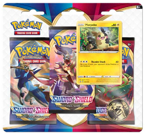 Pokémon TCG: Sword & Shield 3 Booster Packs, Coin & Morpeko Promo Card