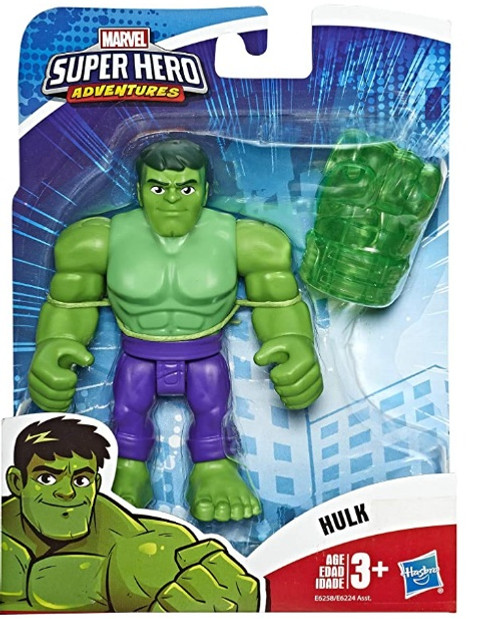 """Super Hero Adventures Playskool Heroes Marvel Collectible 5"""" Hulk Action Figure with Gamma Fist Accessory"""