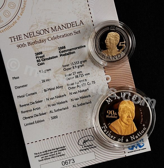 Mandela 90th Birthday Celebration Set medallion, coin and certificate