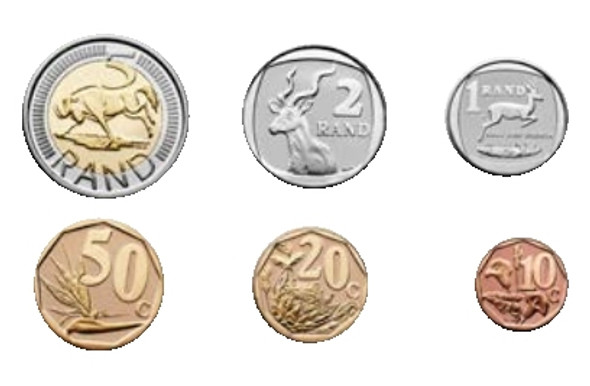 Six coins that are included in the set