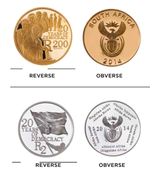 Gold and Silver coins of the set