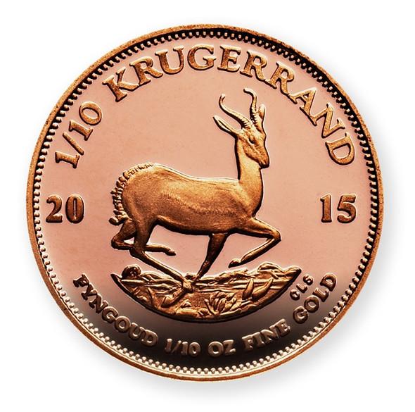 Krugerrand Proof 1/10 Oz Gold Coin 2015 - Reverse
