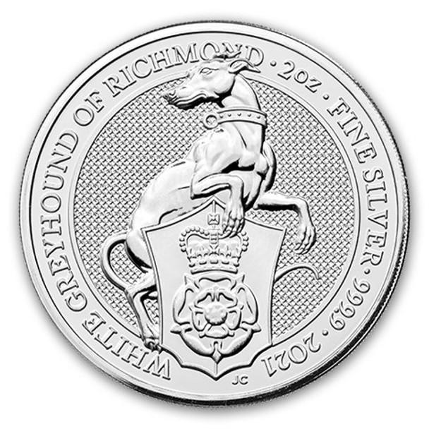 2020 Great Britain 2 oz Silver - The White Greyhound of Richmond.