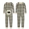 Cream Plaid Kids Onesie Union Suit Pajamas by Little Blue House
