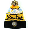 NHL Boston Bruins Cuffed Peak Knit Toque with Pom Pom Front View