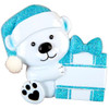 Baby Bear with Blue Present Personalized Ornament