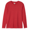 Men's Red Waffle Henley Pajama Shirt Front