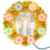 """7"""" Tinsel Wreath with Candles Christmas Tree Topper, Gold"""