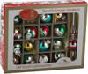 Retro Mini Glass Bulb Ornaments & Tree Topper - 17pc Set box