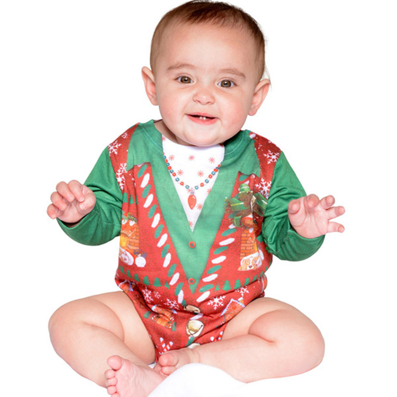 105fc15b1f6d Faux Real - Infant Girl Ugly Christmas Sweater Onesie