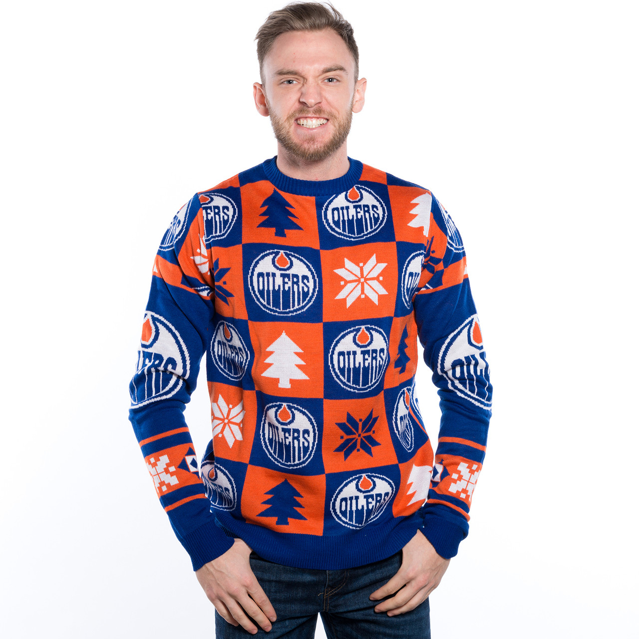 new style 11004 43b0b Edmonton Oilers Ugly Christmas Sweater NHL Busy Block Design