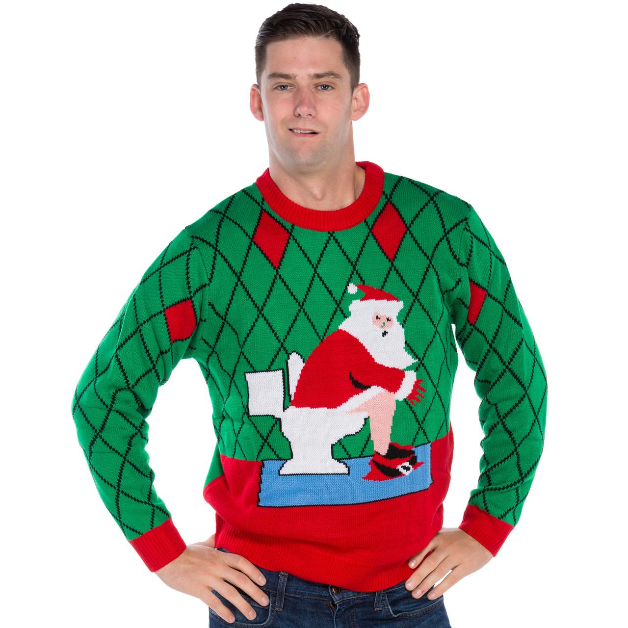 8d9bd40e7 Santa on Toilet Funny Christmas Sweater | RetroFestive.ca