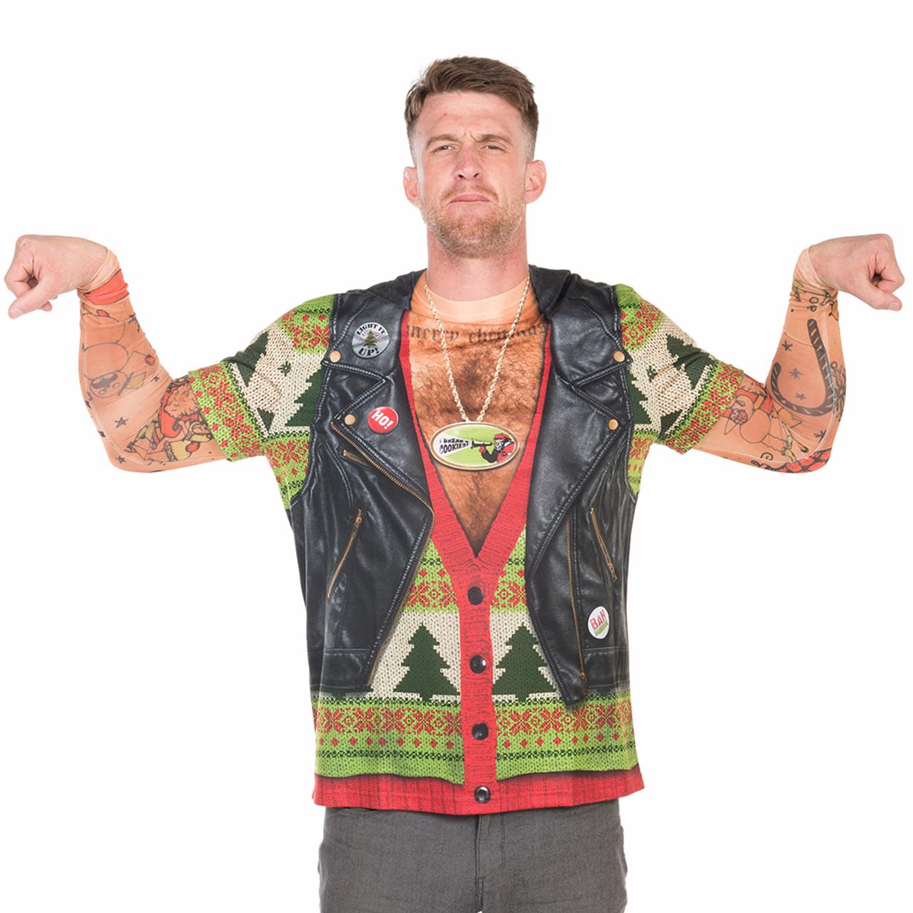 cb14ed30 Faux Real Men's Christmas Biker Sweater with Tattoos | RetroFestive.ca