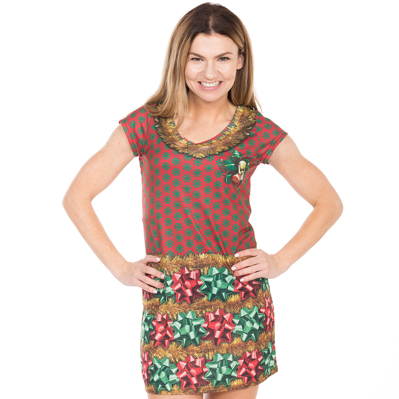 Women\u0027s Bow,tiful Ugly Christmas Sweater Dress Faux Real , Front