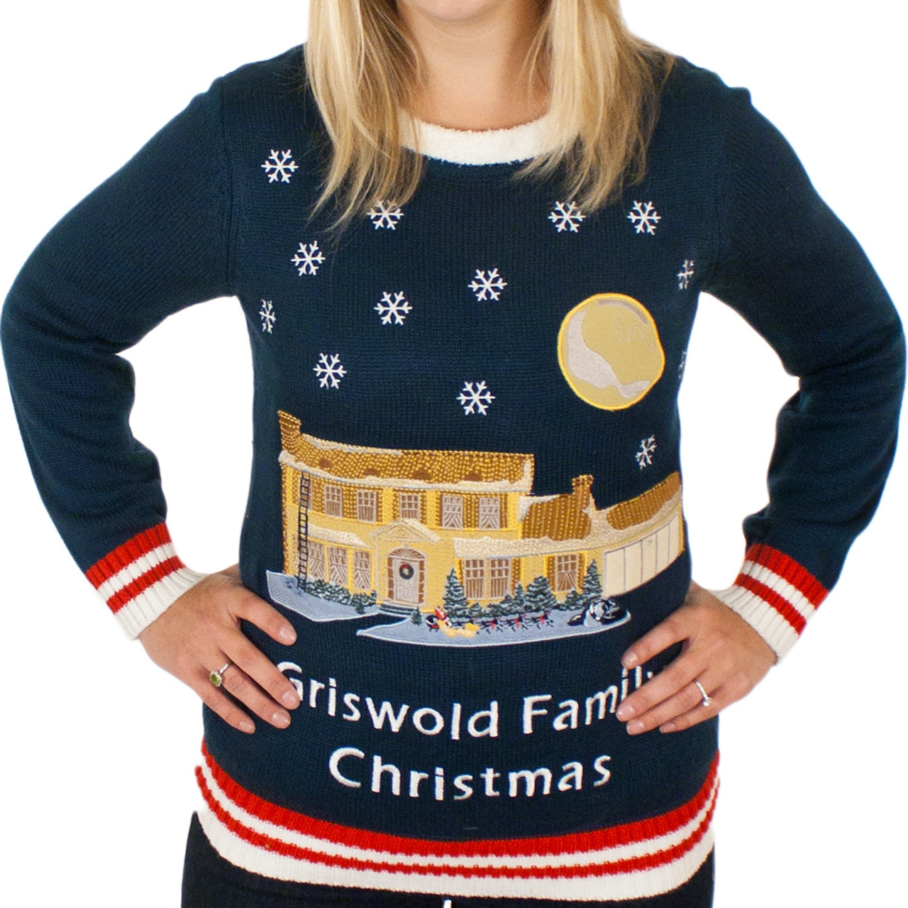Christmas Vacation Sweaters.Light Up Griswold House Applique Sweater Ladies Only By Festified