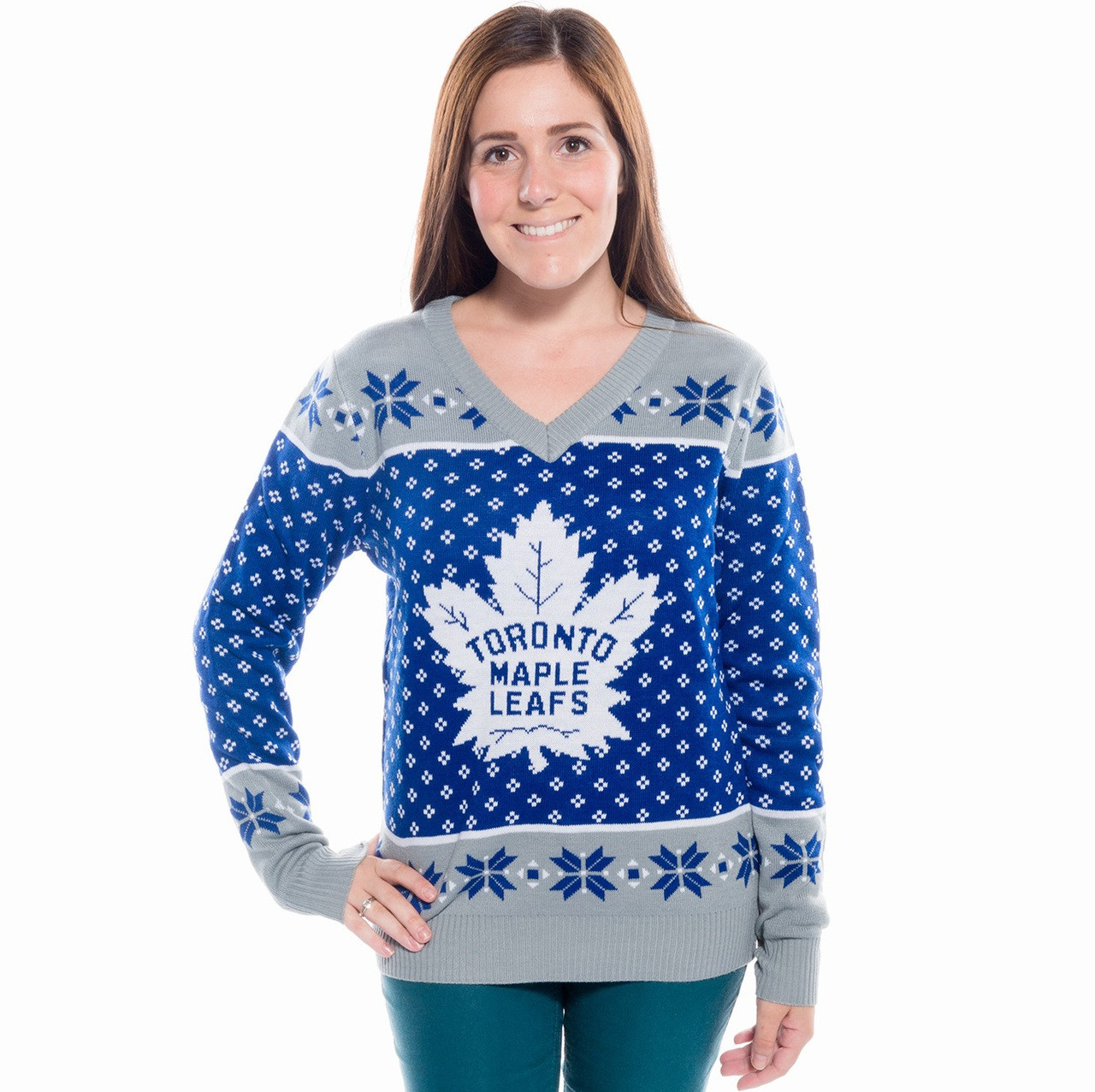 eff02b5eb68 Women s Toronto Maple Leafs Ugly Christmas Sweater 2016 NHL (Front)