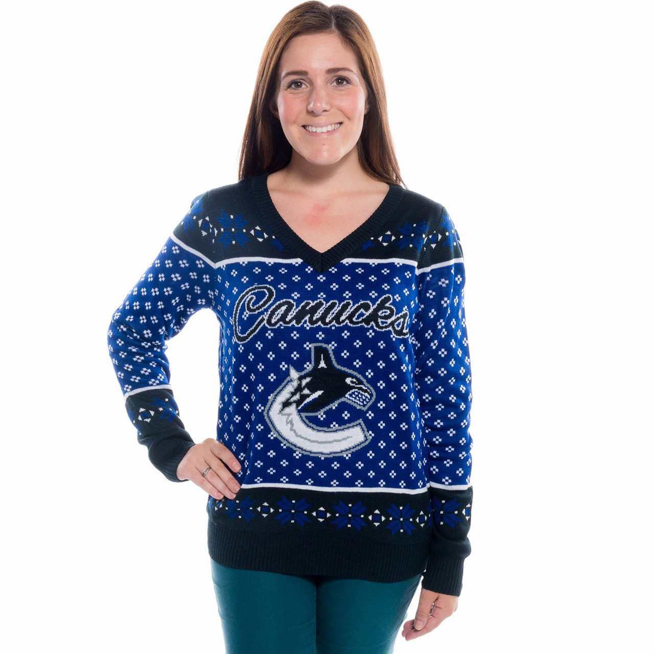 Womens V Neck Vancouver Canucks Ugly Christmas Sweater Nhl 2017