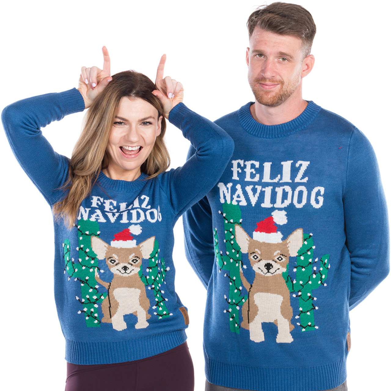 fe17019a4 Feliz Navidog Ugly Christmas Sweater His or Hers