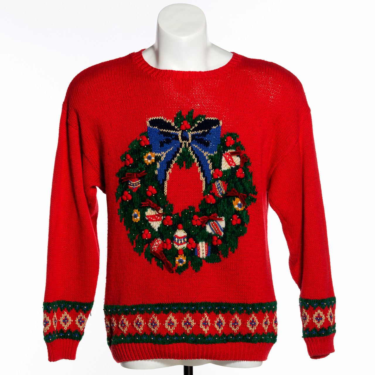Vintage Christmas Sweaters.Christmas Wreath Red Vintage Ugly Sweater