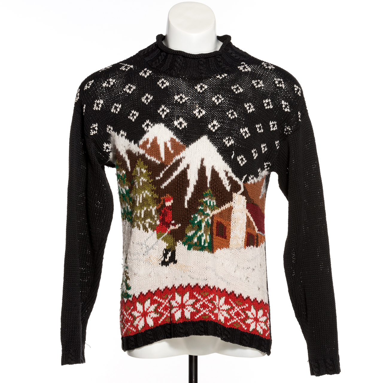 Vintage Christmas Sweaters.Ski Lodge Vintage Ugly Christmas Sweater