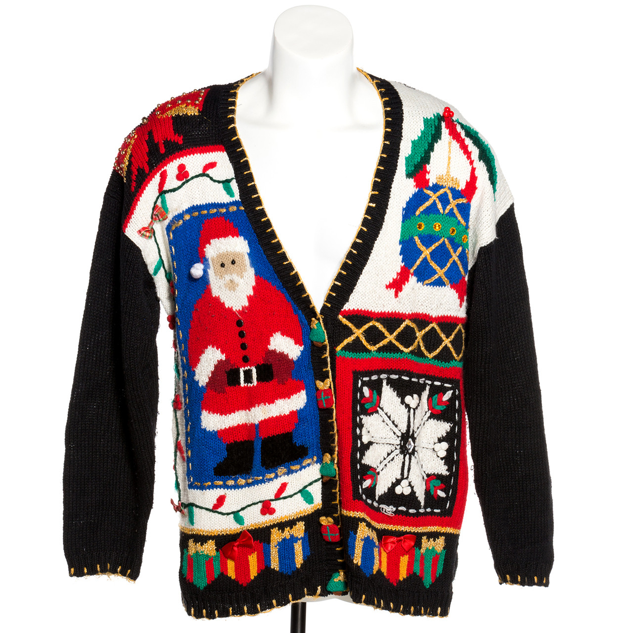 Vintage Christmas Sweaters.Santa Snowflake Vintage Ugly Christmas Cardigan