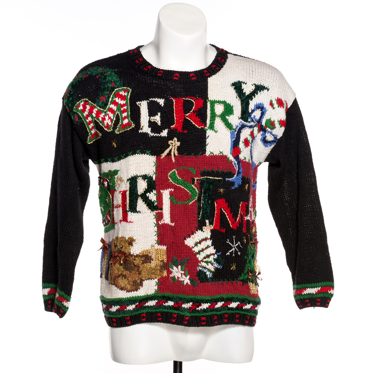 Vintage Christmas Sweaters.Merry Christmas Patchwork Ugly Sweater Vintage Canada