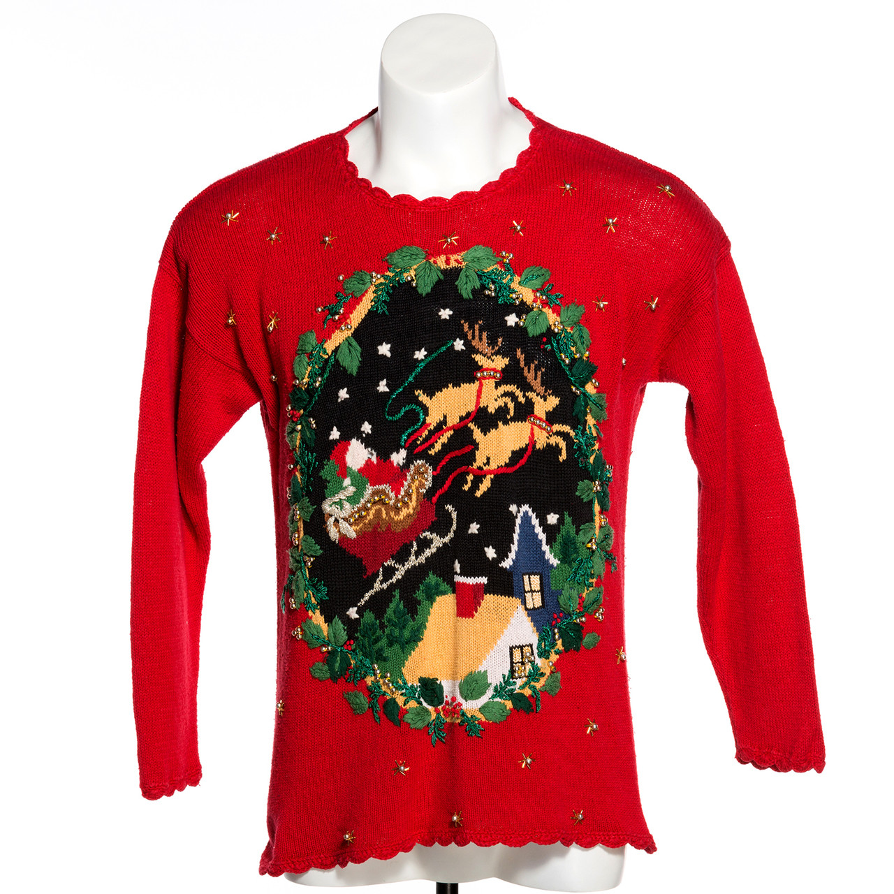 Vintage Christmas Sweaters.Here Comes Santa Claus Vintage Ugly Christmas Sweater