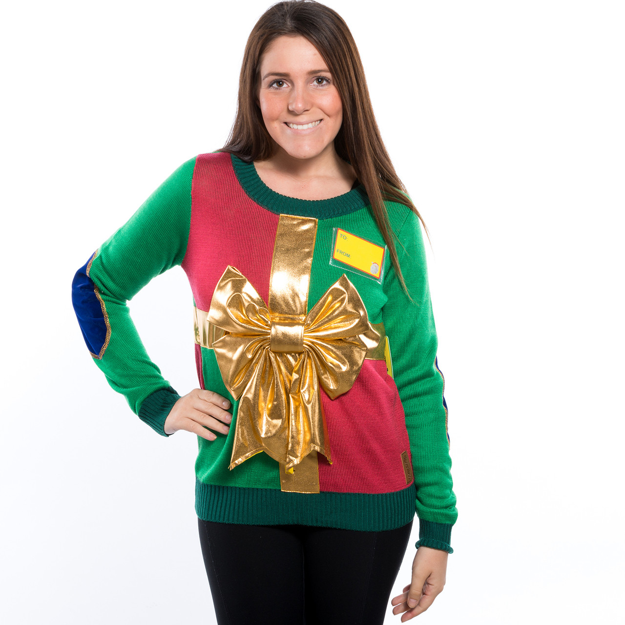 Christmas Sweater Women.Christmas Present With Bow Ugly Sweater His Or Hers By Tipsy Elves