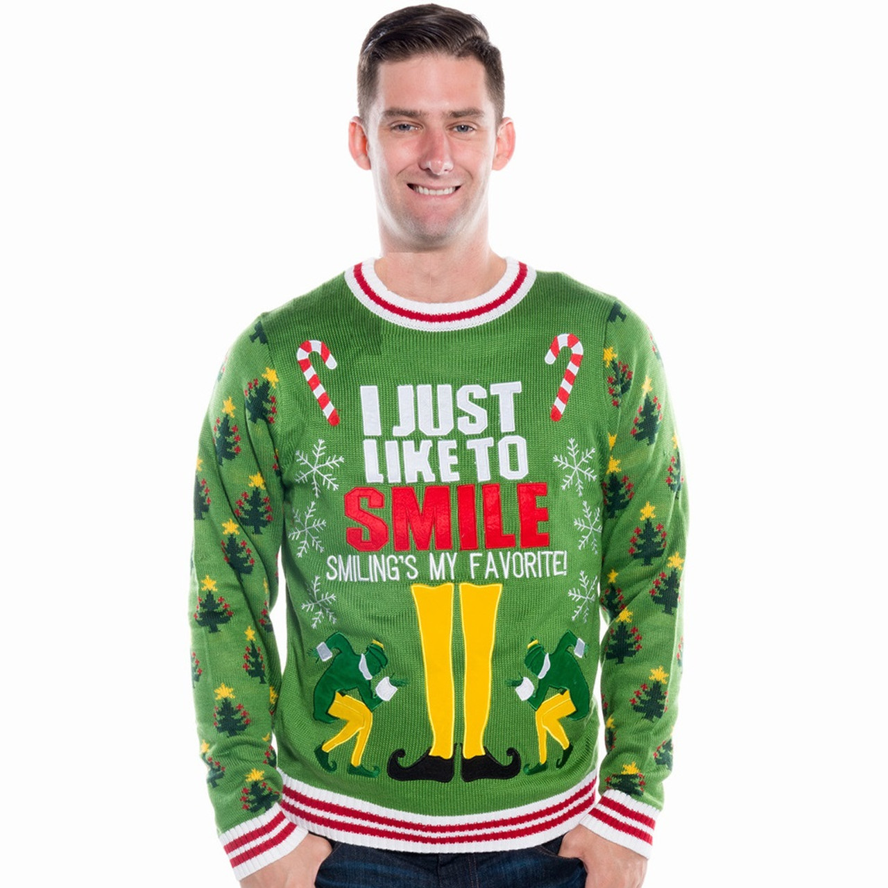 Elf The Movie I Just Like To Smile Ugly Christmas Sweater Retrofestive